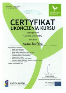Certyfikat Psychodietetyk Diet Coach Agata Jasińska Szczęście od kuchni